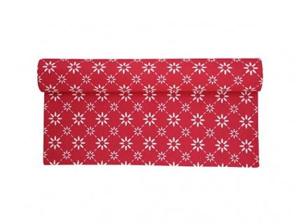 Krasilnikoff Tischläufer BLUME DIAGONAL Rot weiß Tischdecke mit weißen Blumen