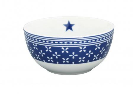 Krasilnikoff Schale Happy Bowl DAISY Dunkelblau Blumen weiß blau Müslischale