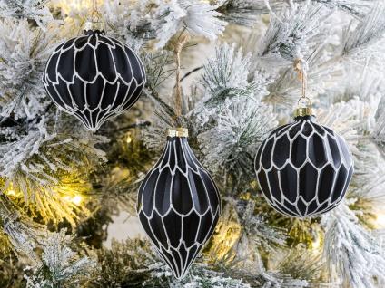Tannenbaum Hänger GRACIA Schwarz Tannenbaumkugel 3er Glas 9-13 Weihnachtsdeko