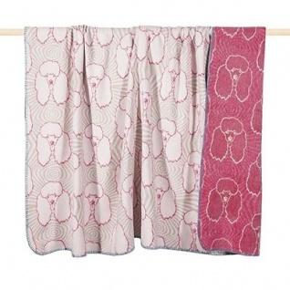 Pad Decke Pudel fuchsia weiß Wolldecke 150x200 Wohndecke Kuscheldecke