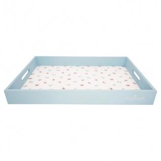 Greengate Tablett VIOLA Blau Weiß 31x45 cm Serviertablett Holz