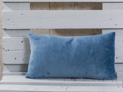 Pad Kissen SMOOTH Staubig Blau Kissenhülle 25x50 samt Kissenbezug Pad Concept