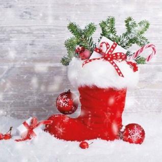 Ambiente Servietten SANTA'S BOOT Weihnachtsmann Nikolaus Stiefel rot Weihnachten