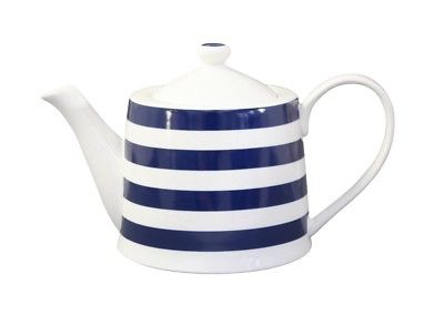Krasilnikoff Teekanne STREIFEN Dunkelblau weiß blau gestreift Porzellan Kanne