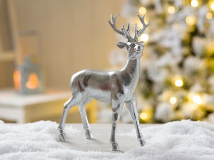 Hirsch HEINRICH silber stehend Weihnachtsdeko 22 cm Deko Objekt Kunstharz