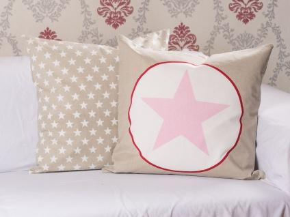 Krasilnikoff Kissenhülle 50x50 STERN Taupe Kissen rosa Sterne weiß Kissenbezug