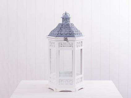Laterne NANCY 63 cm weiß Holz Metalldach grau 6-eckig Gartenlaterne Windlicht