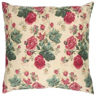 IB Laursen Kissenhülle Beige mit großen Roten Rosen 50x50 Kissenbezug Baumwolle