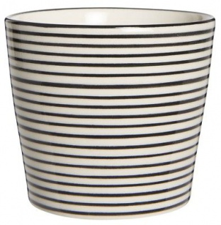 IB Laursen Casablanca Becher klein schwarz weiß Streifen Keramik gestreift Tasse