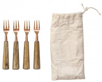 Bloomingville Gabel Set 4 Stck Edelstahl mit Holzgriff aus Mango Holz 14 cm
