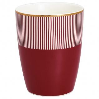 Greengate Latte Cup CORINE bordeaux rot Gate Noir Becher Porzellan Goldrand Tass