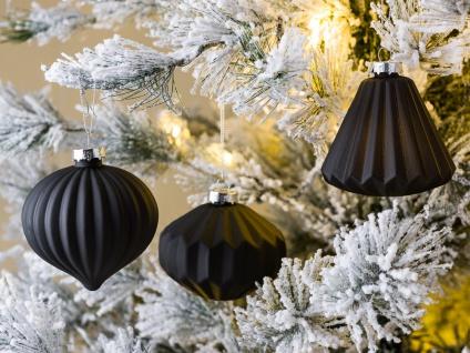Weihnachtskugel BIANCA schwarz 3er Set Weihnachtsdeko Tannenbaumschmuck Weihnach
