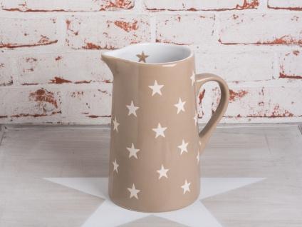 Krasilnikoff Krug BRIGHTEST STAR Taupe Kanne Sterne weiß Keramik Karaffe 1.25 L