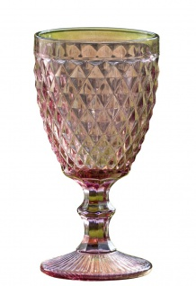 Weinglas MILANO 250 ml Rauten ROSA Trinkglas rosanes Glas 17 cm