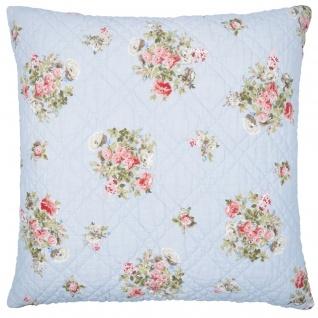 Greengate Kissen PETRICIA Blau 50x50 Kissenhülle Kissenbezug Blumen Baumwolle