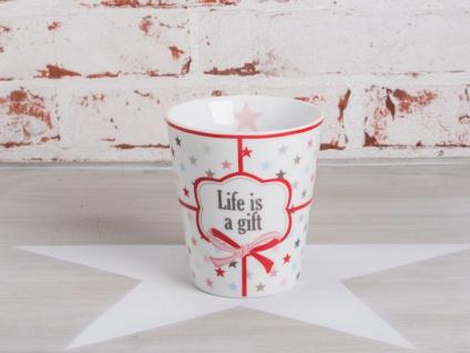 Krasilnikoff Happy Mug Becher LIFE IS A GIFT Weiß bunte Sterne Geschenk