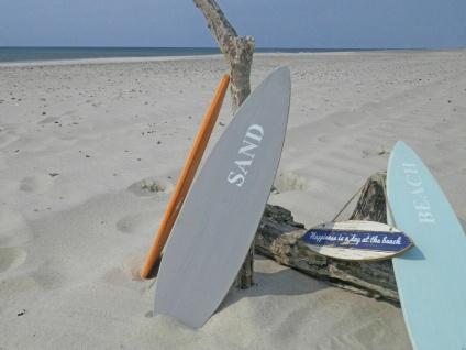 Schild SURFBOARD Grau Aufdruck SAND Wand Deko Objekt Holz 15x60 cm Surfen Strand