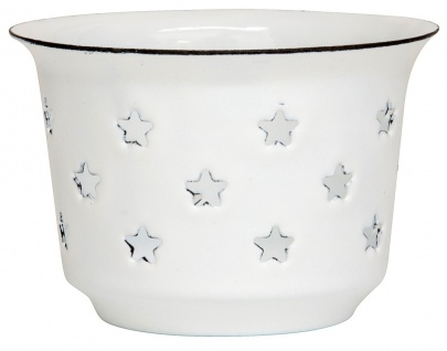 IB Laursen Teelicht Halter Emaille Weiß mit Sternen Kerzenhalter 5x7.5 cm