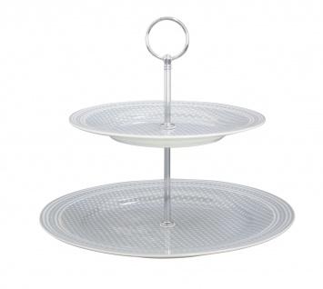 Krasilnikoff Etagere Punkte hellgrau weiß grau gepunktet Porzellan 2 Teller mit