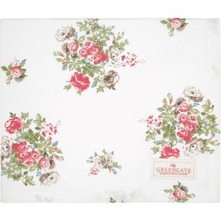 Greengate Tischdecke PETRICIA Weiß Blumen Baumwolle 100x100 cm