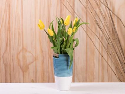 Vase ELLA blau weiß 20 cm Keramik Blumenvase Skandinavische Deko