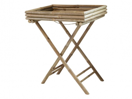 Chic Antique Serviertisch LYON Bambus 43x53 klappbar Tablett Tisch Beistelltisch