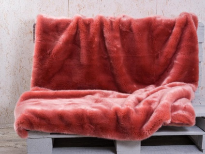 Pad Decke SHERIDAN Felldecke Lachs Kuscheldecke Wohndecke 140x190 Kunstfell