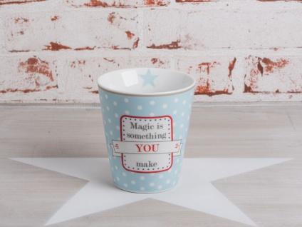 Krasilnikoff Happy Mug Becher MAGIC IS SOMETHING YOU MAKE Blau weiß Sterne 250ml