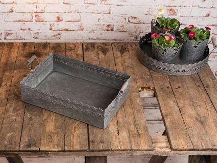 Deko Tablett Felini eckig 39 cm. Zink Metall grau. Vintage Antik Stil. Holzgriff