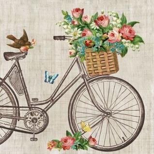 Ambiente Servietten ROBIN ON BIKE Fahrrad Blumenkorb Blumen Korb 20 Stk 33x33