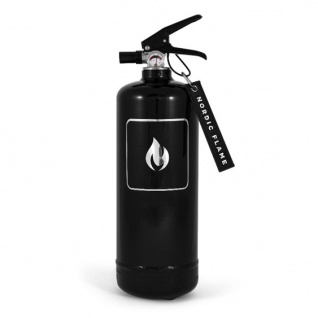 Nordic Flame FEUERLÖSCHER SCHWARZ Silber 2 Kg ABC Pulver Design Brandschutz