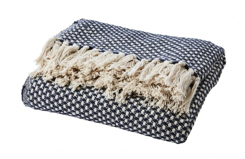 Affari Decke ANNA Navy Blau Recycelt Baumwolle 125x165 Wolldecke Kuscheldecke