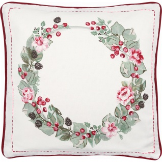 Greengate Kissen SCARLETT Weiß 40x40 Kissenhülle Kissenbezug Blumen Baumwolle