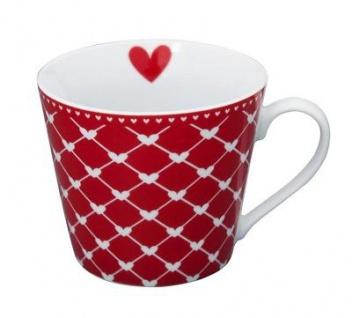 Krasilnikoff Happy Cup Henkel Becher HERZEN DIAGONAL Rot Herz Tasse Porzellan