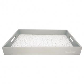 Greengate Tablett ELLISE Grau Weiß 31x45 cm Serviertablett Holz