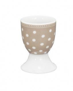 Krasilnikoff Eierbecher PUNKTE Taupe weiß Porzellan Geschirr mit weißen Punkten