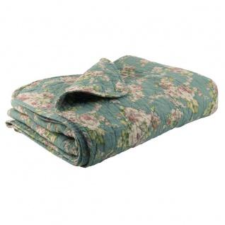 IB Laursen Quilt grün ROSEN Grüne Tagesdecke Blumen Muster Plaid 130x180 Decke