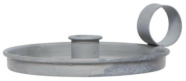 IB Laursen Kerzenhalter KAMMERLEUCHTE Grau Kerzenständer Griff Metall rund