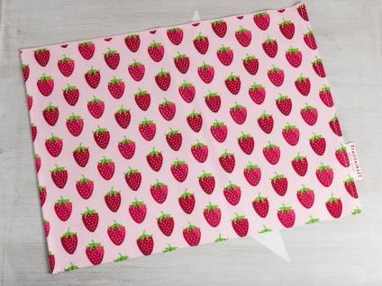 Krasilnikoff Tischset ERDBEEREN Rosa mit Erdbeer Motiv Rot Baumwolle Platzset