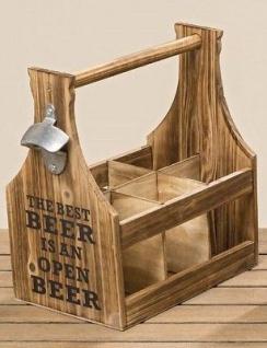 Flaschenträger Holz BEST BEER mit Öffner Flaschenhalter Bierträger Getränkehalte