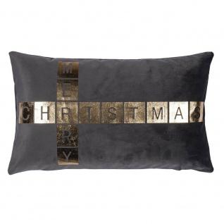 Pad Kissen GREET grau Merry Christmas Kissenhülle 30x50 Pad Concept Kissenbezug
