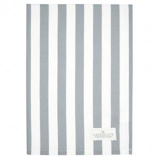 Greengate Geschirrtuch RIGMOR Grau Weiß Streifen Baumwolle 50x70 Küchentuch