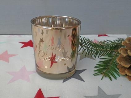 Windlicht Glas KUPFER 100% Christmas 8 cm STERNE Weihnachtsdeko Teelichtglas