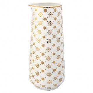 Greengate Krug LAURIE Gold Weiß Blumen Goldrand Geschirr Kanne Porzellan 0.7 L