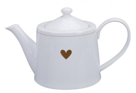 Krasilnikoff Teekanne mit HERZ in Gold Porzellan Tee Kanne 1 Liter Weiß