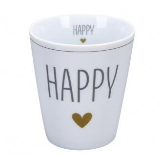 Krasilnikoff Becher Happy Mug HAPPY mit HERZ in Gold Kaffeebecher 250 ml Tasse