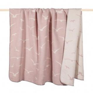 Pad Decke Möwe rosa weiß Wolldecke maritim dusty pink 150x200 Wohndecke Kuscheld