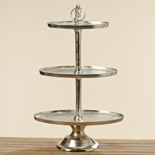 Etagere HELENE 94 cm OVAL Deko in Silber Metall 3 Ovale Etagen Hochzeitsdeko