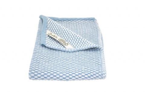 Solwang Gästehandtuch Natur / Hellblau gestrickt Handtuch Bio Baumwolle 32x47