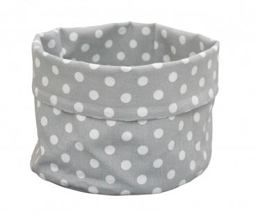 Krasilnikoff Brotkorb PUNKTE Hellgrau Baumwolle grau weiß gepunktet 16x20 cm